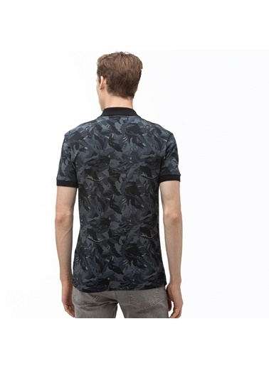 Lacoste Erkek Slim Fit Desenli Tişört PH0061.61S Siyah